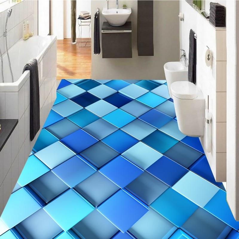 Free Shipping Custom Abstract blue dynamic box 3D floor affixed bedroom bathroom restaurant flooring wallpaper mural