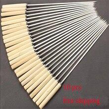 10 шт. плоская палочка для барбекю для жарки и барбекю игла с деревянной ручкой Brochette Tong Kebabe шампуры из нержавеющей стали инструменты для обжарки