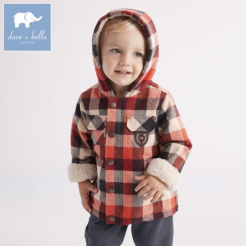 DB5921 dave bella veste dhiver pour bébés garçons   Manteau à carreaux pour enfants