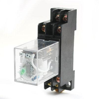 Подробнее о DC12V 10A DPDT 8Pin Green Lamp Motor Control Power Relay w DIN Rail Socket free shipping dc 12v coils dp2t 8 terminals motor control electromagnetic power relay w socket