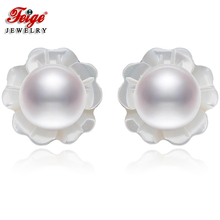 FEIGE 6-7mm Natural White Pearls 925 Sterling Silver Stud Earrings For Womens Exclusive Design Shell Carvings Fine Jewelry