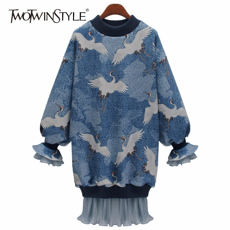 TWOTWINSTYLE Mesh Trumpet Dress For Women Print Patchwork Ruffles O Neck Lantern Sleeve Mini Dresses Female 2019 Spring Fashion