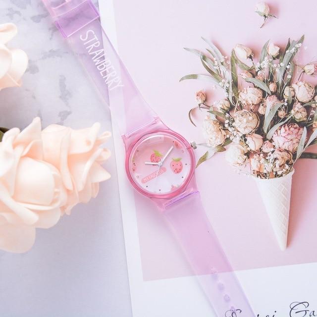 Watch Transparent Clock Silicone Watches Women Sport Quartz Wristwatches Fruit N