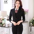 Mujeres otoño 2016 Señoras de la Oficina Mujeres del Desgaste Del Trabajo Conjunto Traje de negocios Trajes Pantalón Formal Hembra Chaqueta de la chaqueta + Chaleco + Pant + blusa de 4 Unidades