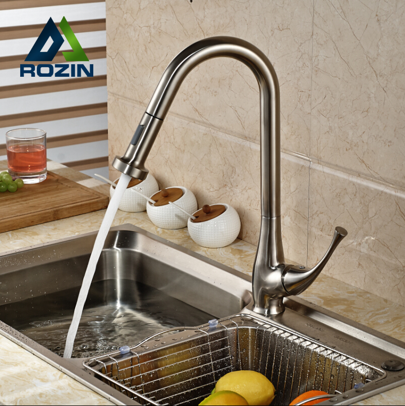 ФОТО Single Lever Dual Sprayers Head Kitchen Sink Faucet Taps Deck Mount Pull Out Kitchen Mixer Taps Brushed Nickel Finish