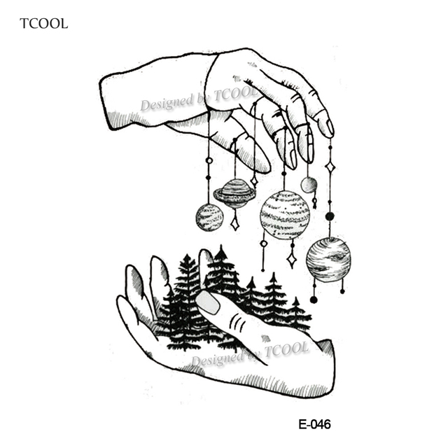 TCOOL Planet Temporary Tattoos For Waterproof Men Fake