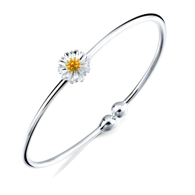 Branco Amarelo Da Flor Da Margarida 925 Sterling Silver Bangle Ajustável