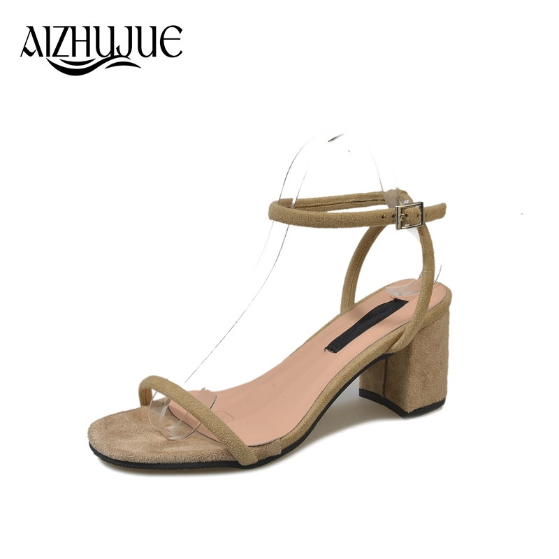 AIZHUJUE thick heel sandals women 2018 summer comfortable med heels open toe fashion pumps shoes woman casual sandalias mujer new women sandals low heel wedges summer casual single shoes woman sandal fashion soft sandals free shipping