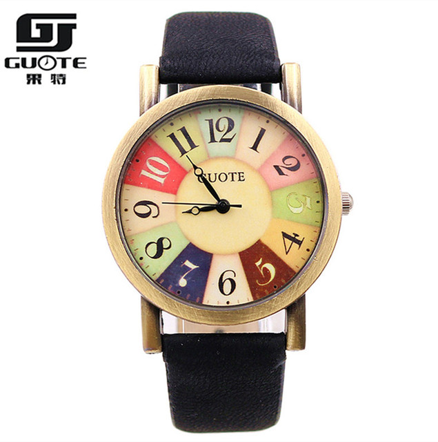 GUOTE Brand Vintage Style Fashion Watch Women Elegant Leather Strap Sweet Rainbow Color Number Casual Quartz Watch Ladies Clock