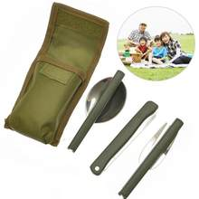 Portable Mini Tableware Set outdoor Tool Folding Cutlery Set with Spoon Fork Knives for Camping Picnic Stainless Steel Talheres(China)