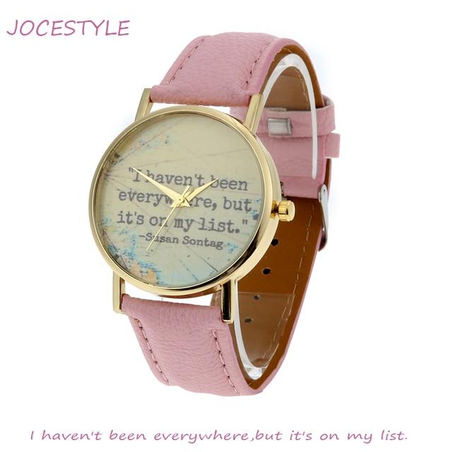 7288b495847 2018 Mulheres Relógio Viagem Navegação Lema Couro relógio de Pulso de  Quartzo Do Vintage Relógios relógio