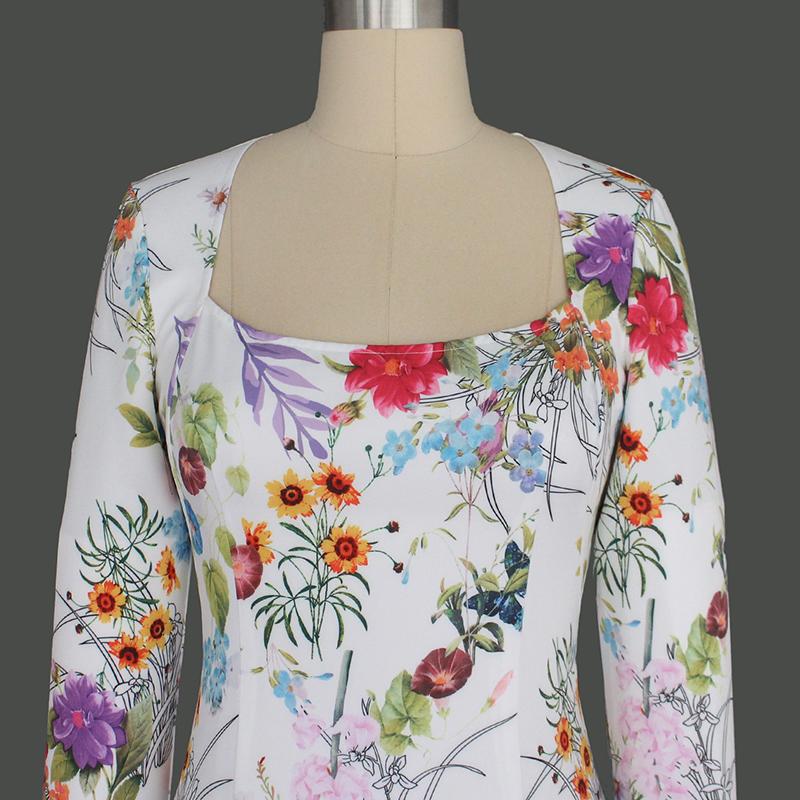 vfemage женщин элегантный винтаж рокабилли весна цветочный цветочный принт кинозвезды квадратный средства ухода за кожей шеи платье партии оболочка облегающее платье 2023