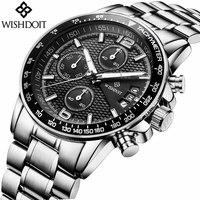 WISHDOIT Watches Fashion Brand Multifunction Chronograph Quartz Watch Men Military Sport Wristwatch Male Clock Relogio Masculino 1 pc car trunk organizer box folding storage bag oxford cloth car organiser for auto accessories stowing tidying collapsible bag