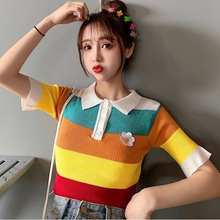 T-Shirt Women Short Sleeve Knitted Shirt Turn-down Collar Striped Casual Girls Sweet Top недорого