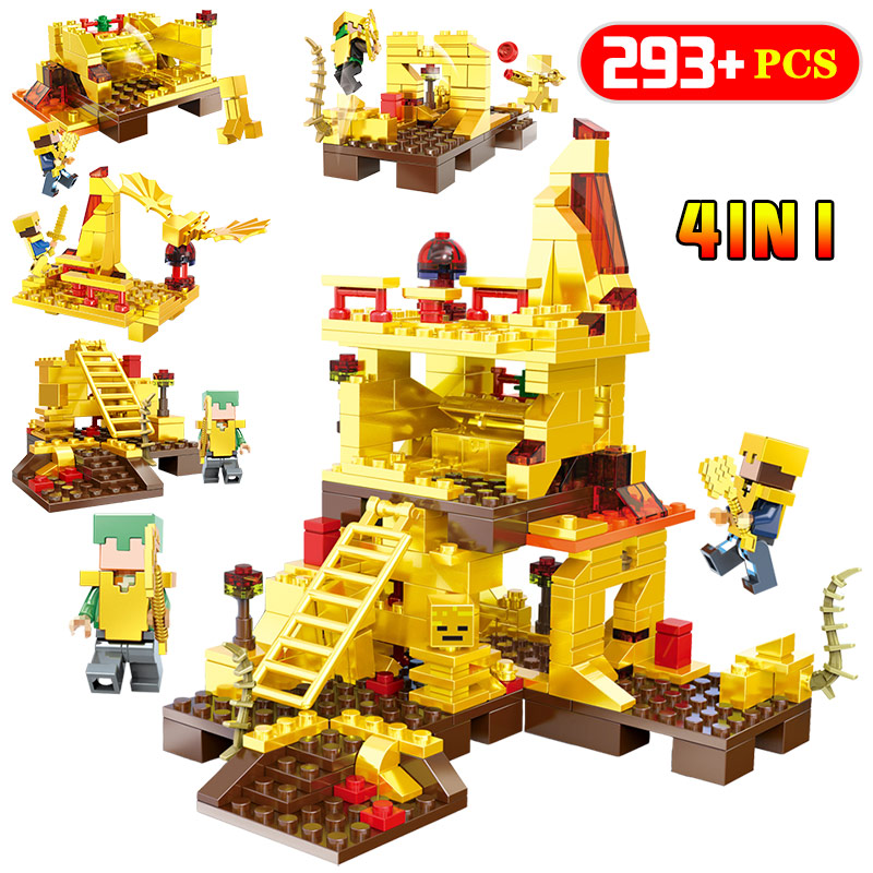 4 In 1 My World Technic Golden Dragon Building Blocks Compatible LegoINGLYS Minecrafter Golden World Enlightenment children Toys 0 3 years primer beginner books my little world count 123 first abc colors tome of enlightenment