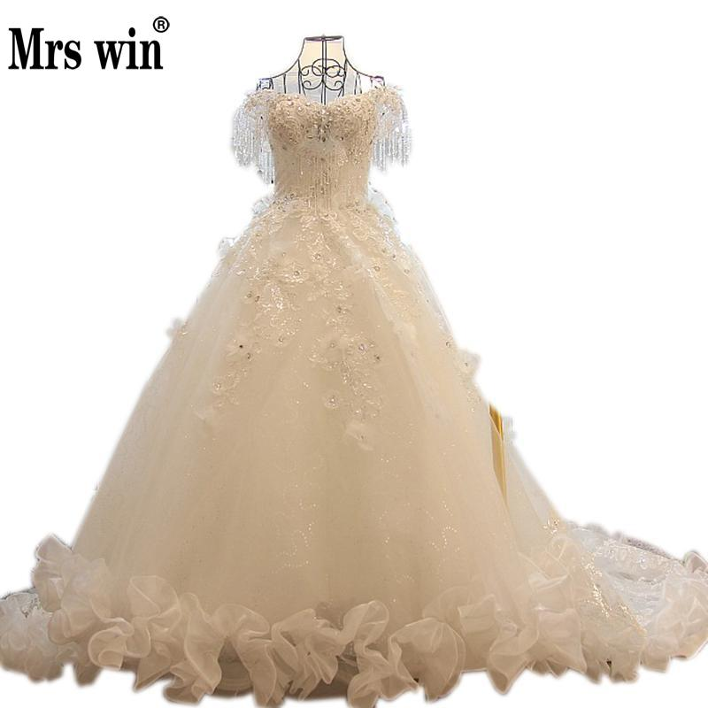 2018 New Luxurious Crystal Beading Lace Flower Ruffle Wedding Dress High-grade Bride Princess Long Tail Wedding Gown Custom-made