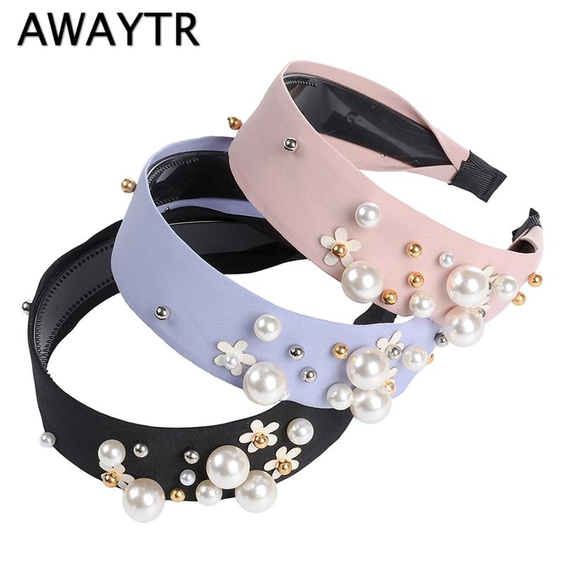AWAYTR Flower Headband For Women Korea Wide-side With Teeth Non-slip Pearl Headband Simple Hairband Girls Hair Accessories