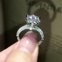 Anillo clásico de lujo con plata sólida 925 Real para mujer, sortija de corazones y flechas de 2Ct, joya de boda de diamante, sortijas de compromiso para mujer