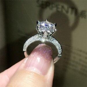 Image 1 - Klasyczne luksusowe naprawdę twarde 925 srebrny pierścień 2Ct 10 serca strzały SONA diamentowe wesele biżuteria pierścionki zaręczynowe dla kobiet