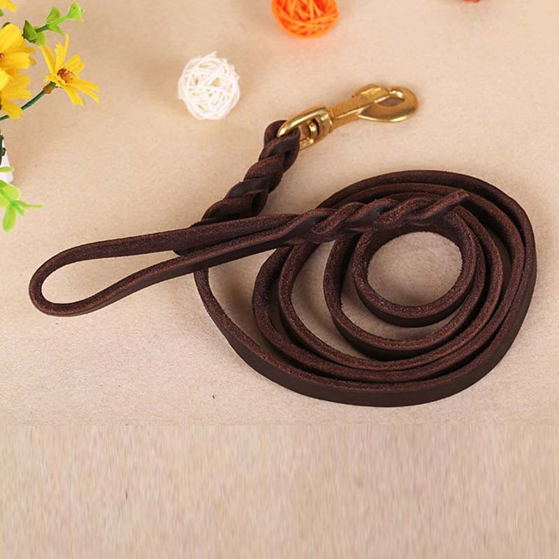 1 PC Leather Dogs Pets Long Leash Braided Pet Walking Training Leads Heavy Duty Cooper Hook VDY12 T50