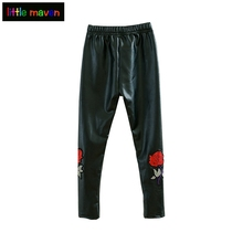 PU Leggings for Girls Pants 2017 Rose Embroidery Legging Kids Clothes Robe Enfant Skinny Faux Leather Children Trousers