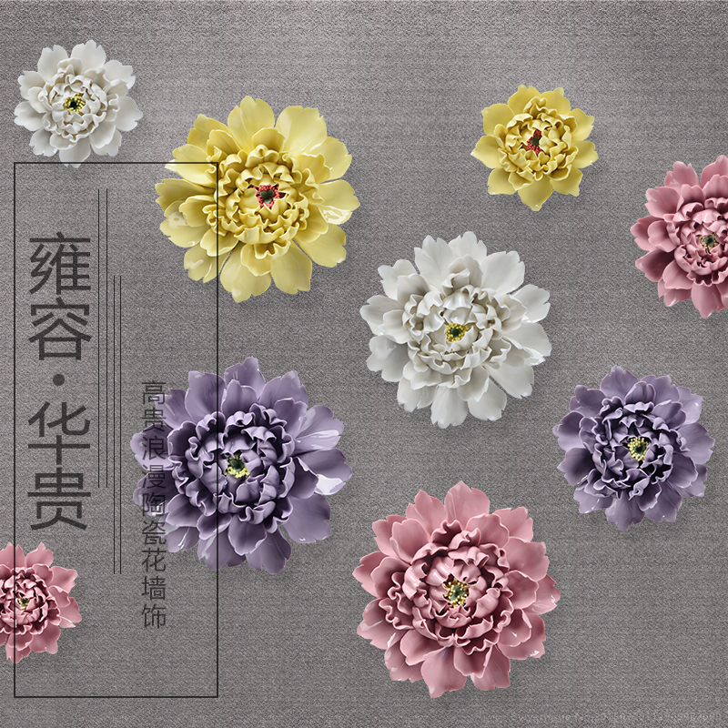 Big Ceramic Peony Decorative Wall Flower Dishes Porcelain