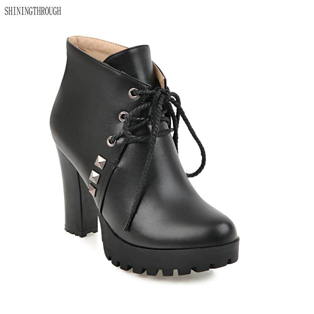2018 New lace up ankle boots autumn women boots femme shoes high heels boots dress shoes woman large size 34-43