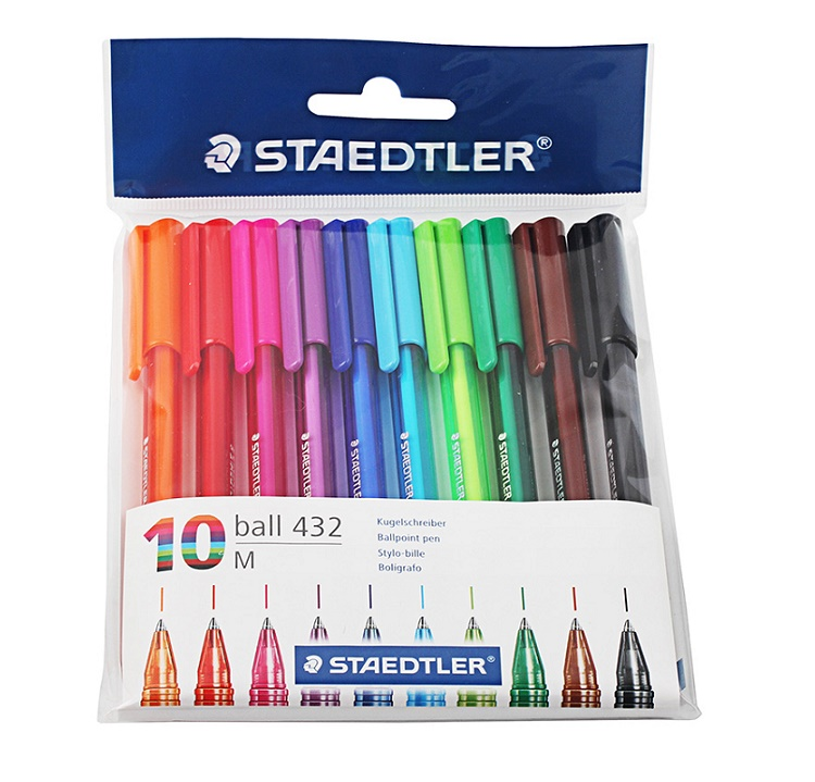 Staedtler Ball 432 M Triangle Holder Ballpoint Pen Rollerball Pen 0.7mm 10 Multicolour Set Office And School Supply