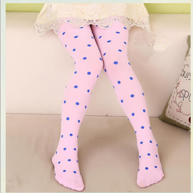 NEW 8 Colors Full Foot Stockings Tights Cute Clothing Baby Children Girls Tights Kids Dots Velvet Slim Dance rib knit tights