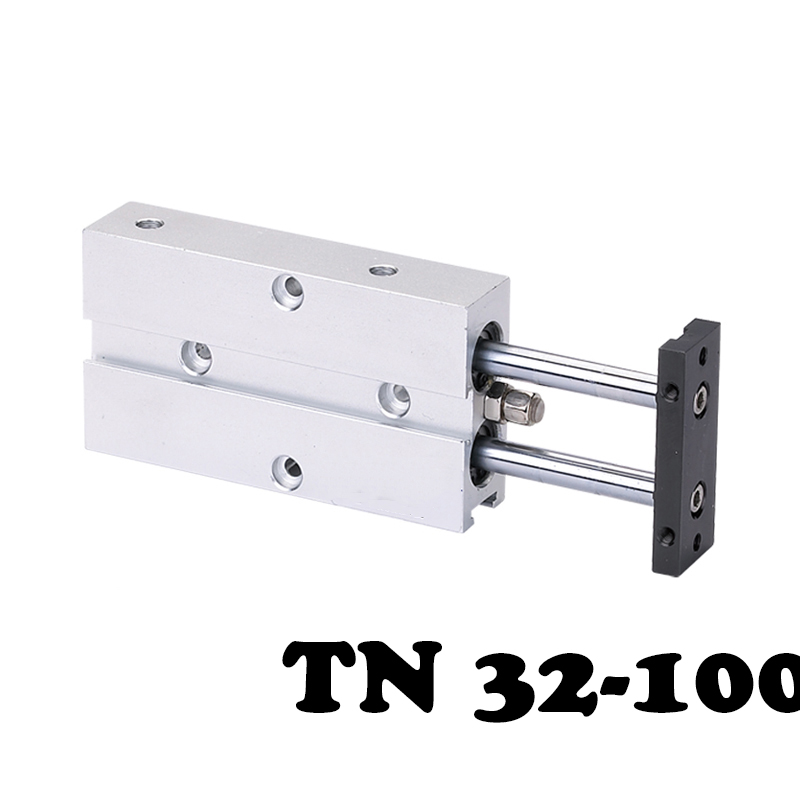 Free shippingTN 32*100 Two-axis double bar cylinder cylinder Standard Pneumatic Cylinder 32mm Bore 100mm Stroke Air Cylinder tn10x45 s two axis double bar new air cylinder double shaft double rod 10mm bore 45mm stroke pneumatic cylinder