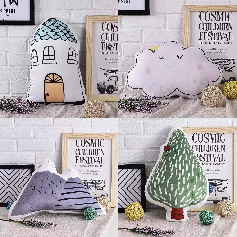 Cartoon Cloud House Mountain Plane Tree Shape Cushion Pillow Baby Calm Sleep Stuffed Toy Nordic Kids Bed Room Decor Photo Props