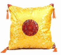 2piece Pack Free Shipping Tassel Dragon Pattern 100 Silk Green Cushipn Pillow Covers 18 Inch