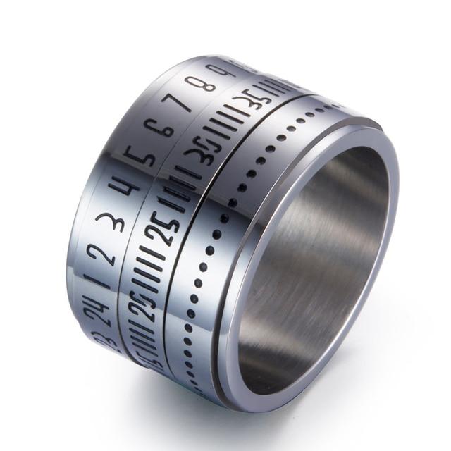 Мужское кольцо Liumo, кольцо из нержавеющей стали с римскими цифрами, вращающаяся блесна из нержавеющей стали 316L, 14 мм