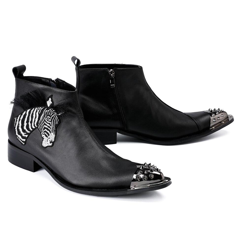 Aus Motorrad Party Männer Kleid Schwarz Fashion Bella Zipper Winter Schuhe Echtem Christia Nieten Schwarzes Leder Stiefel Ankle w74tqYSTW
