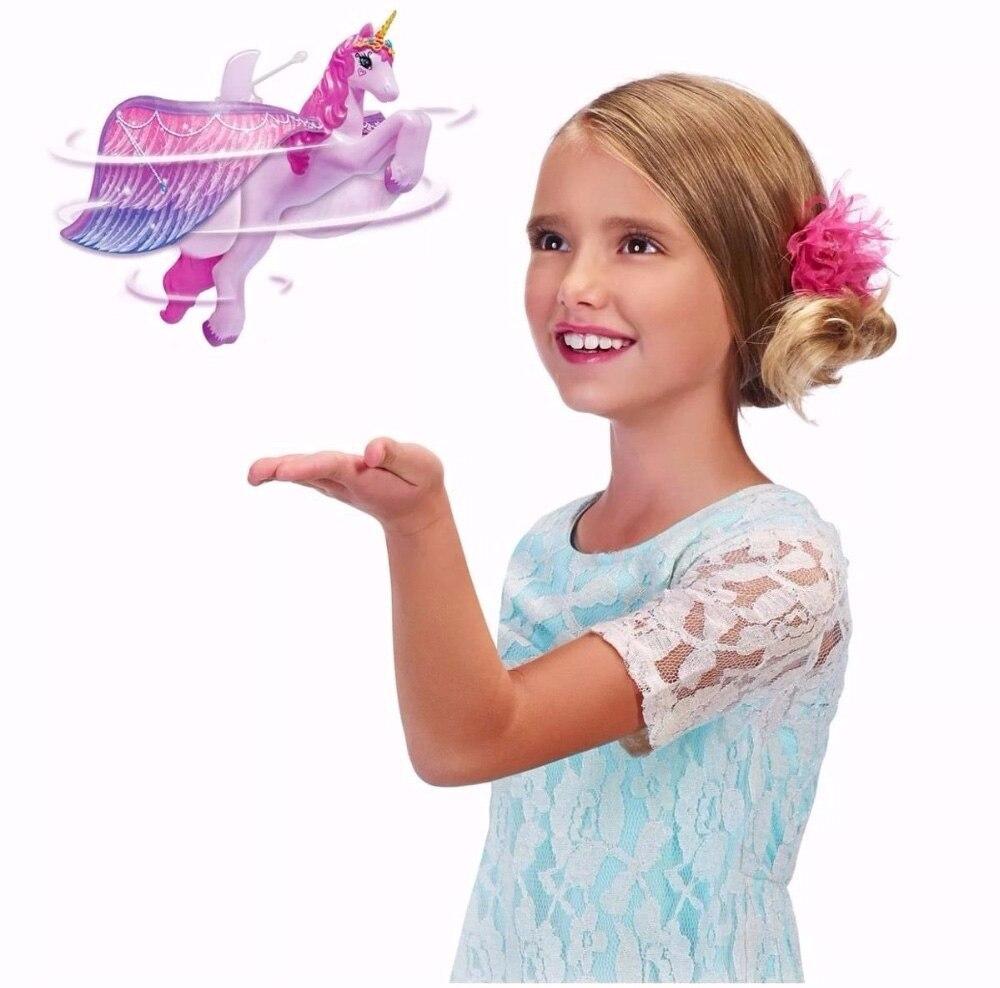 Brillante juguete volador luminosa unicornio las alas juguetes para regalo de cumpleaños de los niños de la noche brillante mano de inducción Control caballo volador.