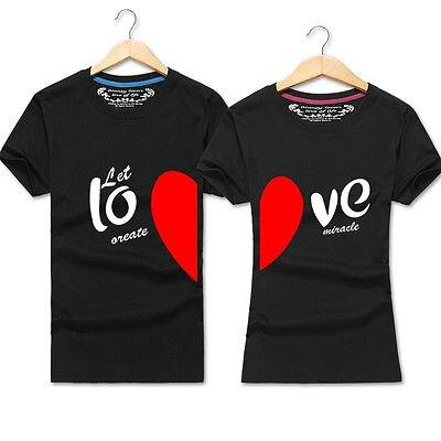 1f9e3712b6 2017 New Fashion Summer Love Couple T-shirt Love Heart Tee-Valentine's Day  Matching Couple Shirt Tops