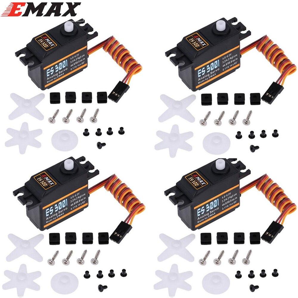 4 unids/lote Emax ES3001 RC piezas ABS servo analógico para helicóptero avión parte
