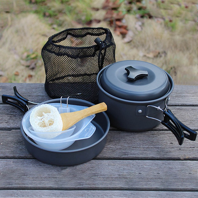 Lightweight Camping Cookware Mess Kit Backpacking Gear