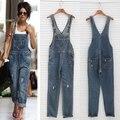 Plus Size 2016 Novo Jeans Macacão Rompers Womens Jumpsuit Macacões Para As Mulheres Coreano Casual Meninas Longas Calças Jeans Macacão