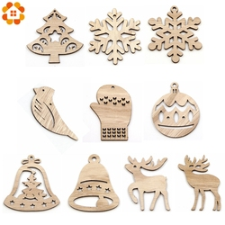 10PCS DIY Christmas Snowflakes&Deer&Tree Wooden Pendant Ornaments For Christmas Party Xmas Tree Ornaments Kids Gifts Decorations 2