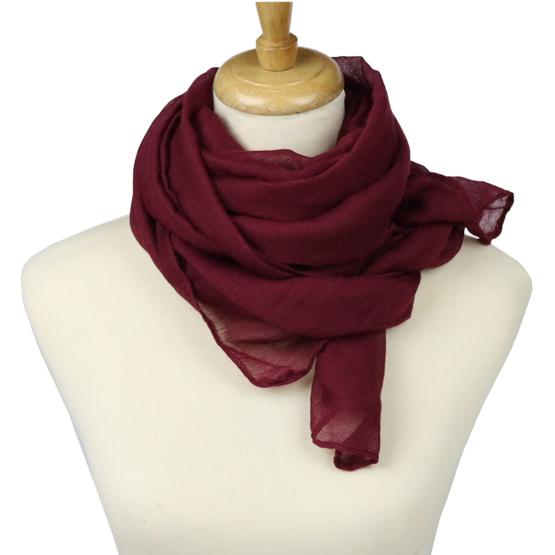F&u 15 Colors Fashion Women Solid Color Scarf Long Soft Wrap Ladies Polyester Scarves Luxury Shawl Fashion In 4 Season Highly Polished