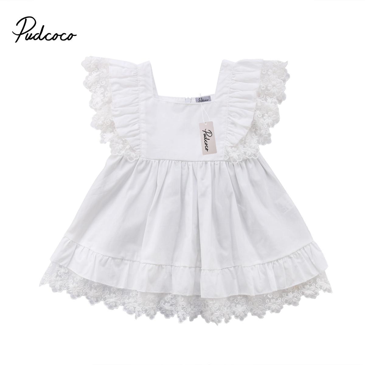 Beautiful Toddler Dress Newborn Kids Baby Girls Princess White Lace Dress Pageant Party Dresses day dress