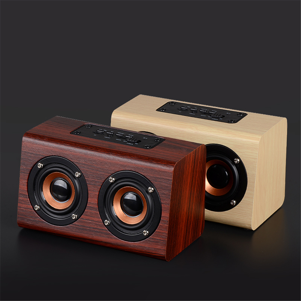 New Listing Retro Wood HIFI 3D Dual Loudspeakers Wooden Bluetooth Wireless Speaker With TF Card/AUX Bass Sound Mini Speaker