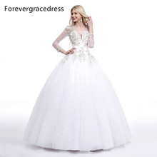 Forevergracedress Ball Gown Long Sleeves Wedding Dress V Neckline Beaded Crystal Long Backless Bridal Gown Plus Size Custom Made