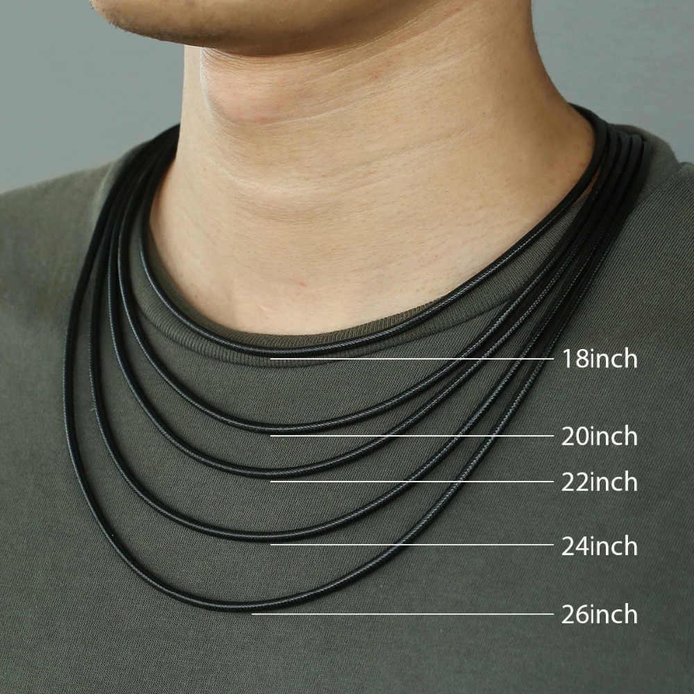 Brązowy czarny skórzany naszyjniki dla mężczyzn zapięcie magnetyczne ze stali nierdzewnej mężczyzna skórzany naszyjnik ze sznurka Dropship biżuteria prezenty 3mm LDN22
