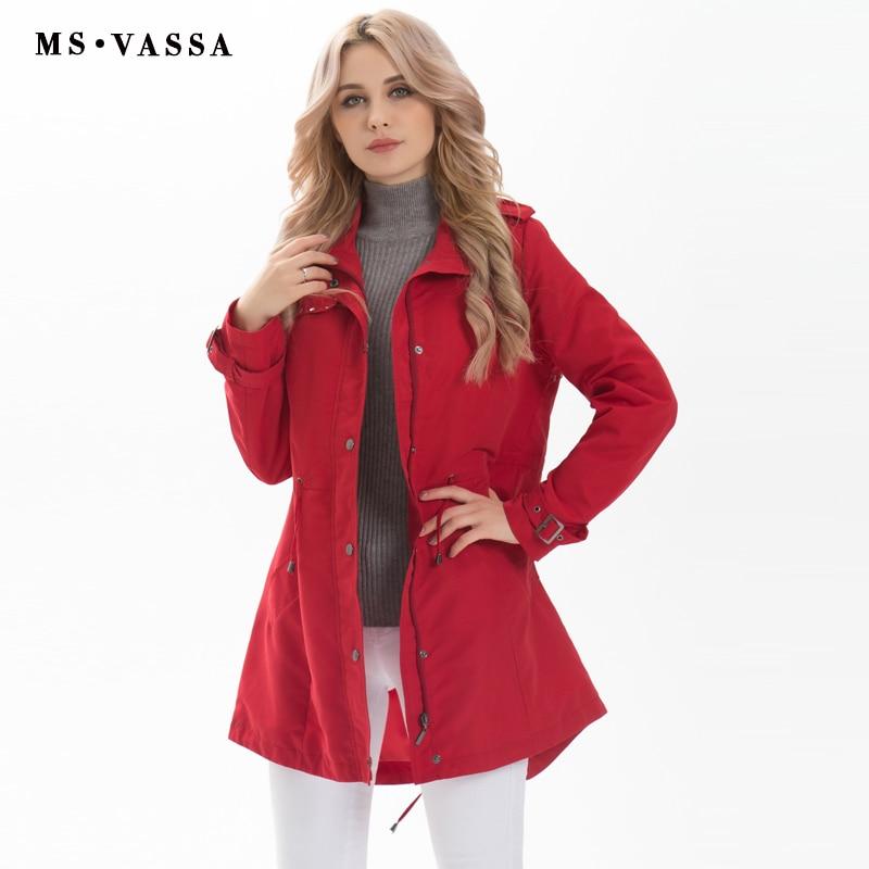 MS VASSA نساء موضة جديدة خندق معطف السيدات معطف طويل عارضة زائد حجم 5XL 7XL بدوره أسفل الياقة حجم صف سعيد زر الحدود