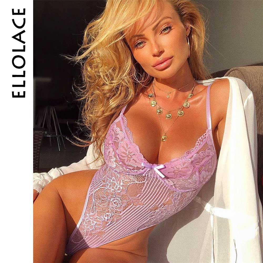 Closeout DealsýEllolace Jumpsuit Overalls Bow-Tie Floral-Embroidery Neon Party Transparent 21-Colors╒