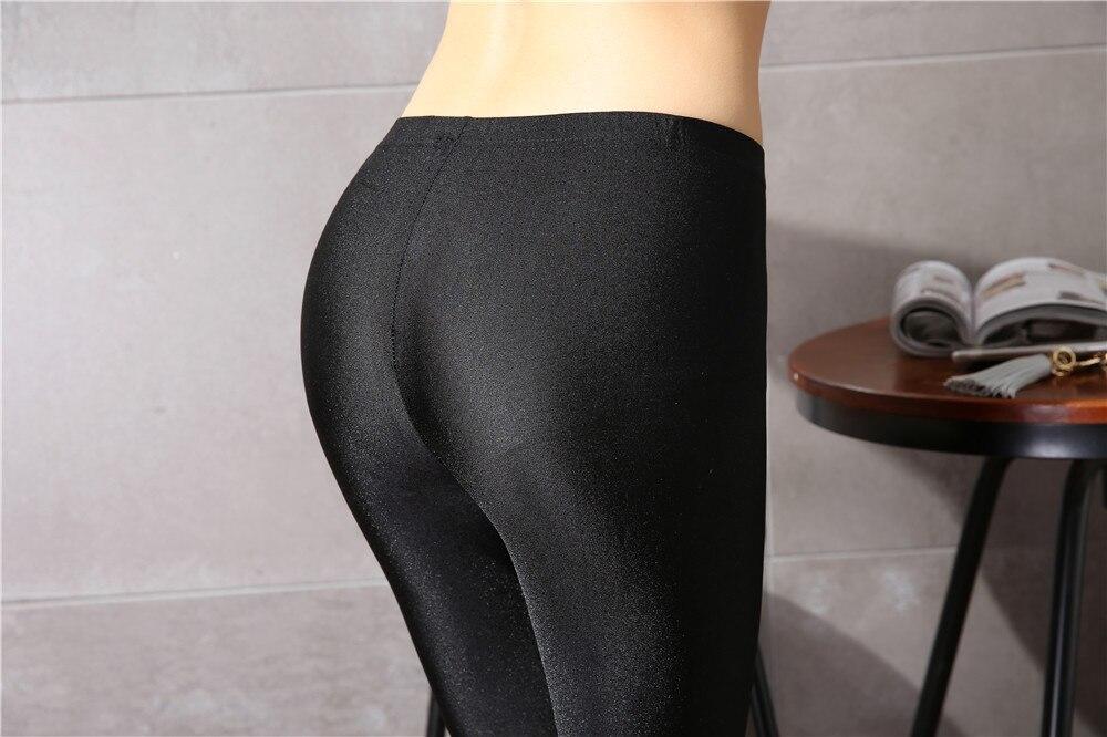 Dames Kalfslank Broek Slanke Effen Vrouwelijke Glanzende broek Dames - Dameskleding - Foto 6