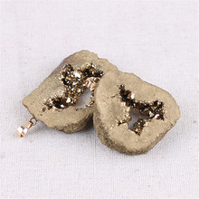 Irregular Natural Agates Plating Crystal Pendant Druzy Handmade Gems Stone Pendants For Jewelry Making