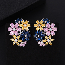 SISCATHY 2019 Fashion Jewelry Flower korean Earrings Trendy Colorful Cubic Zirconia American Wedding Party for Women